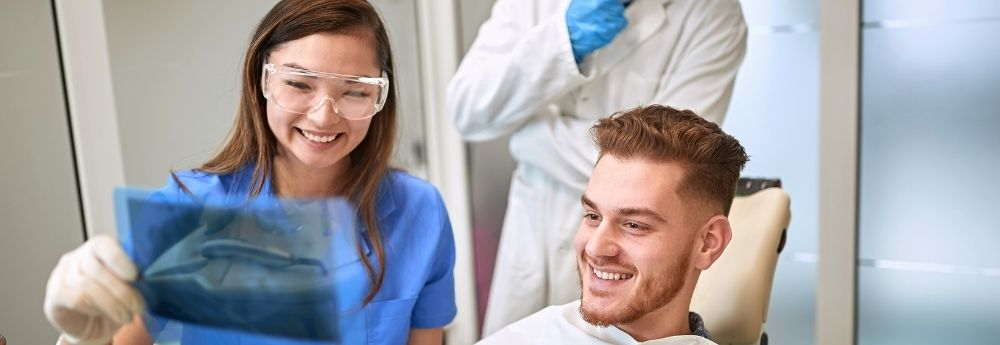 Instructor teaching students in the Dental Assistant Training program at Dorsey College