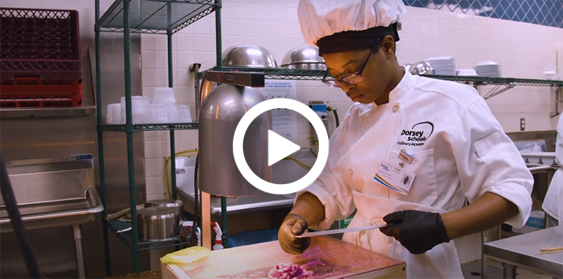 A video play button, with a baking and pastry chef, working in a kitchen in the background.