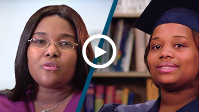Video play button with medical assistant graduates Betty and Minerva.