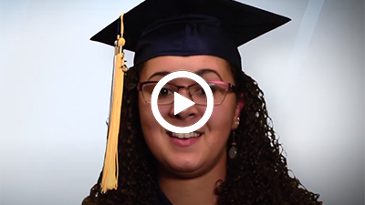 Video play button with Madison Heights Campus graduate Char.