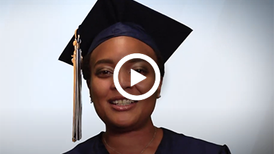 A video play button with Medical Assistant graduate Jade.