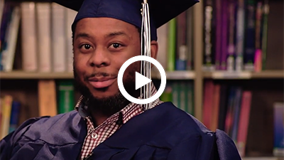 Video play button with Madison Heights Campus graduate Marvin.