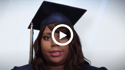 A video play button with Medical Administration and Billing graduate Jacklynn.