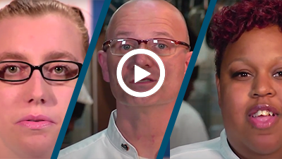 Video play button with Roseville Culinary Academy graduates Scott, Starreatha, and Stephanie.
