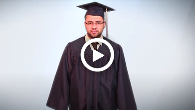 Video play button with Dearborn Michigan Campus student Yassir giving a testimonial.